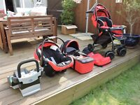 CHICCO Travel System - Pushchair, footmuff, car seat with base, travel cot.