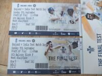 SOLD : 2 good adult tickets for day 3 of the Oval Test, India v England, face value or near offer