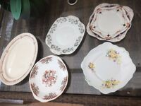 5 China cake serving plates floral wedding