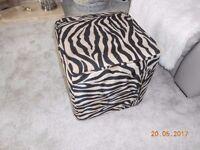 Zebra print square footstool / pouffe.