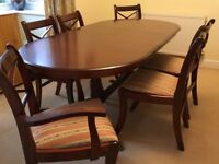 Reproduction Style Mahogany Dining Table And 6 Chairs