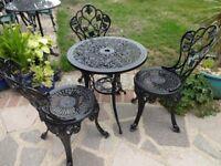 CAST ALUMINIUM GARDEN / PATIO SET - TABLE AND 3 CHAIRS --