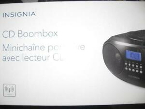 Insignia CD Player Boombox. AM / FM Radio Tuner. AUX Audio Headphones / Headset Jack. Stereo Speaker. AC Power Charger