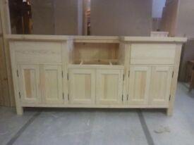 Solid Pine Belfast Sink Kitchen Unit (184cm width) To fit 600m width Belfast sink