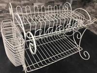 Shabby chic dish rack cream ironwork