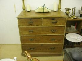 ANTIQUE STRIPPED PINE STURDY CHEST OF DRAWERS. '2 OVER 3' DEEP DOVE-TAILED DRAWERS. VIEW/DELIVERY