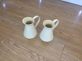 2 x cream metal jug vase (wedding)