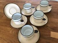 Retro Denby teacups and saucers.