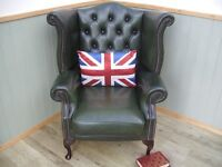 Stunning Green Leather Chesterfield Queen Anne Chair.