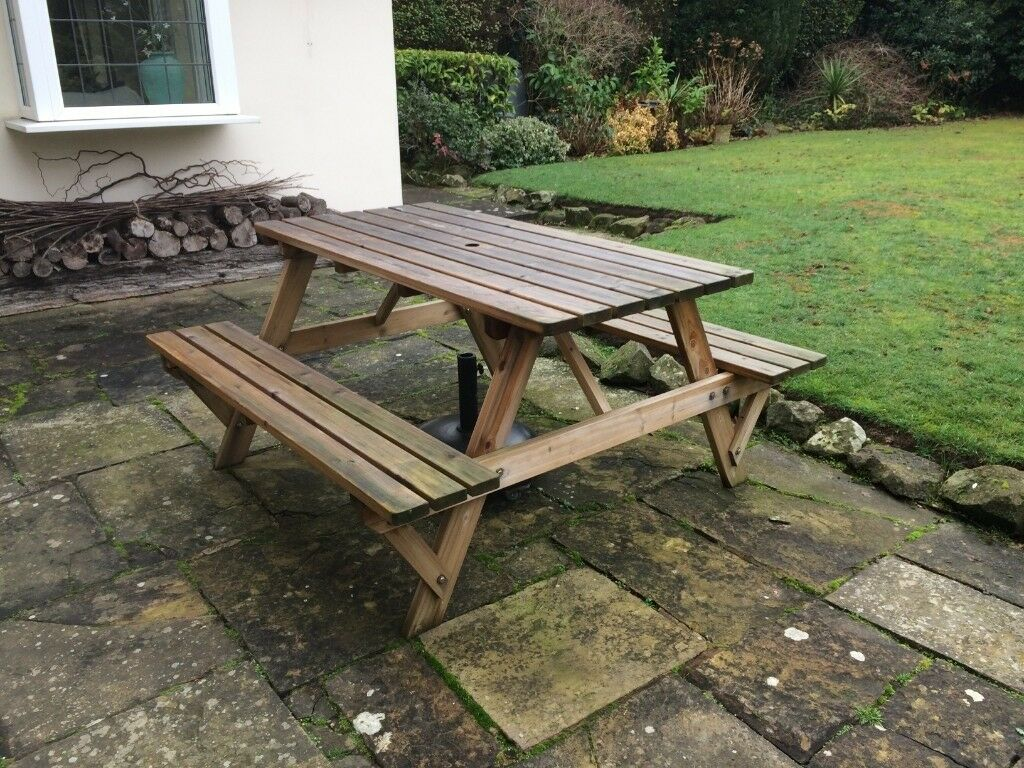Wooden garden bench table seat
