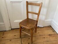 Vintage Childrens Wooden Chapel Chair Worn & Lovely (1 of 2 available)