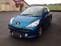 09 Peugeot 207 Sport, 1.4 Pertrol, Blue, mileage warranted only one owner.