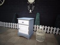SOLID PINE BEDSIDE CABINET PAINTED WITH LAURA ASHLEY PALE DOVE AND PARIS GREY VERY SOLID CABINET