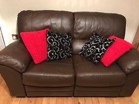 2 seater brown reclining sofa