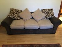 3+ 2 seater leather sofas with fabric cushions.