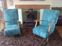 Vintage chair, newly refurbished with butterfly fabric, courier possible **