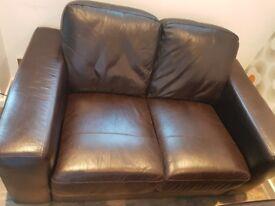 Next Armitage dark brown leather 2 seat sofa