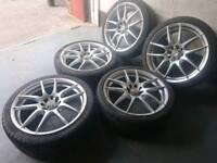"KEI racing 17"" 4x100 4x108 alloy wheels + tyres (set of 5) vauxhall ford honda nissan toyota"