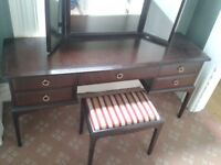 Stag Minstrel dressing table, attached mirror and matching stool