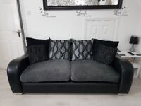 2 x black and grey 3 seater sofa