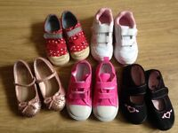 Bundle of toddler girl shoes (some new) size 7-7.5