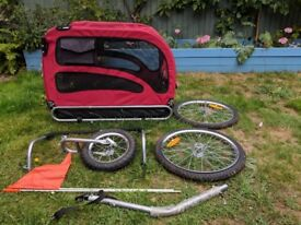 Doggyhut large dog cycle trailer and stroller/pushchair. Used, red.