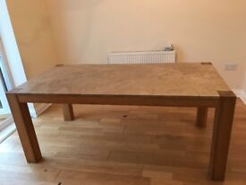 Solid Oak Dining Table with marble top and four leather chairs, matching sideboard and plinth