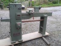 Woodturning Lathe. Wadkin Bursgreen. Long bed for spindles etc. end stock for turning bowls etc.