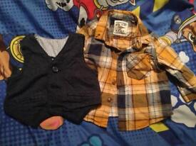 Next shirt and waistcoat 3-6 months yellow and navy b