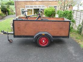 Trailer wood sided box trailer, camping, garden, car boot 7 x 3 ( near 6 x 4 trailor )