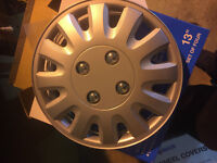 Motion 13 Inch Boxed Wheel Trim Set of 4 Silver Hub Caps Covers - TopTech