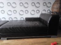 Sofa/Chaise Longue and footstool in brown leather from Ikea