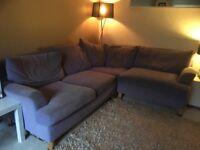 Corner sofa - fabric purple
