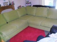 LARGE CORNER SOFA VERY COMFY SOFT MATERIAL BOUGHT NEW NOT HAD LONG ALL CUSHIONS REMOVABLE ZIP COVERS