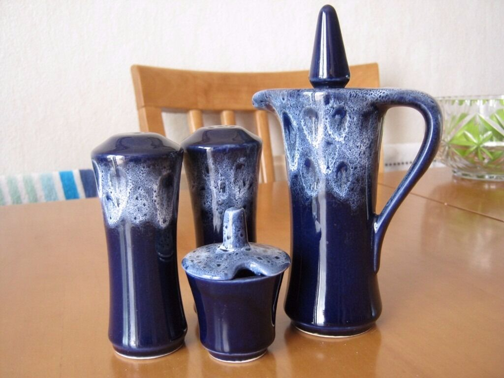 Cornish Potteryin Littlehampton, West SussexGumtree - Cobalt blue Drip Ware pattern cruet set including salt n pepper, mustard pot and vinegar bottle by Goonhavern Potteries Cornwall. All in excellent condition with no cracks or chips. Collection preferred from Timberleys Littlehampton
