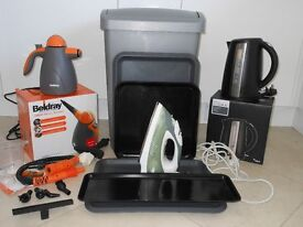HANDY HOUSEHOLD BUNDLE - IRON-KETTLE-STEAM CLEANER-BIN-TRAYS