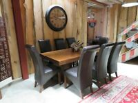 Modern Kitchen Table & 8 Leather Chairs