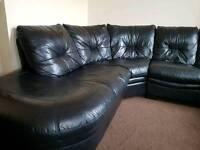 Black leather Corner Sofa (Quick sale )