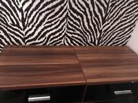 2 Bedside Chest Of Drawers Mirrored Black Gloss with dark wooden top
