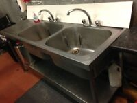 Stainless steel commercial double sink unit