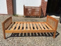 Pine cot and toddlers bed