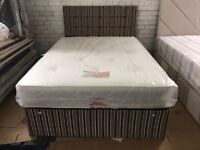 Fabric divan bed with mattress