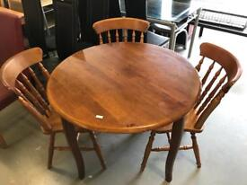 Pine Dining Table and 3 Chairs