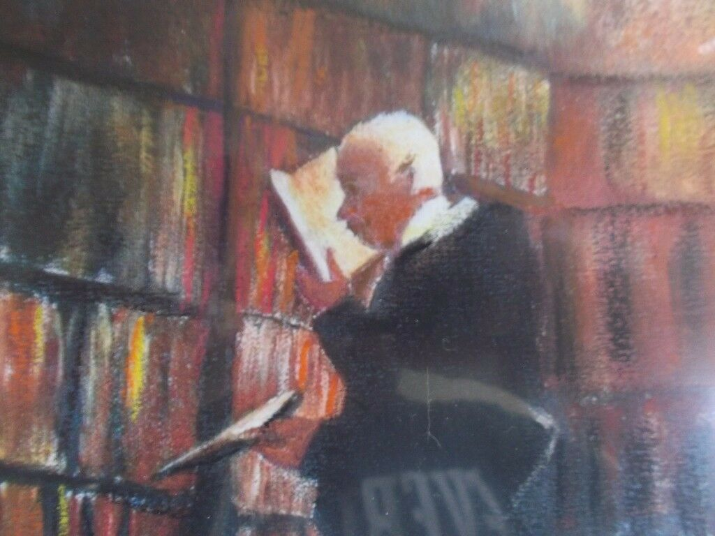 Artlands painting 'The bookworm' by sham. oil and pastel