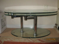 GLASS AND CHROME EXTENDING COFFEE TABLE