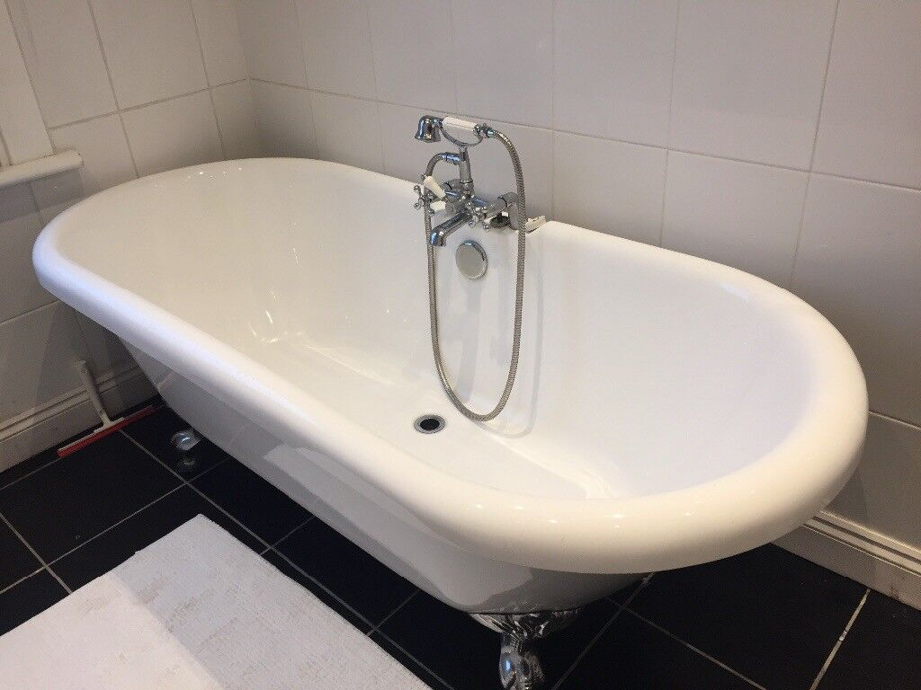 Acrylic Roll Top Bath with Ornate Feet - includes Mixer Tap & Shower ...