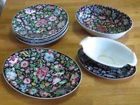 Very Pretty Millefleur Famille Noire Floral Pattern Vintage Chinese Porcelain