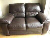 2 seater soft black leather sofa settee