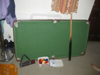 Junior Pool/snooker table, cues, triangles, scorer and balls