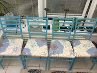Set of 4 bright, blue dining chairs
